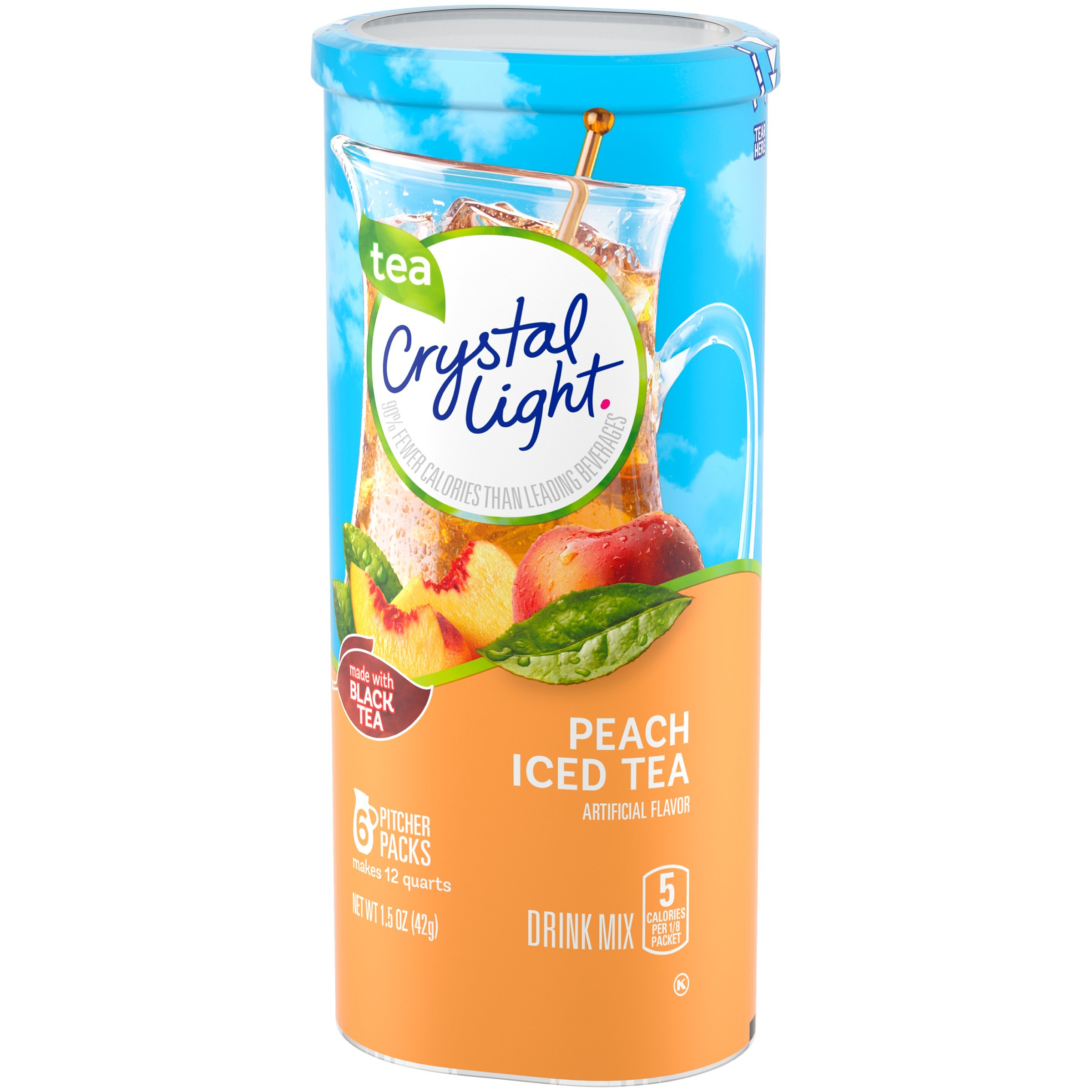 Crystal Light Peach Tea Drink Mix, 72 Pitcher Packets (12 Packs of 6) by Crystal Light (Image #1)