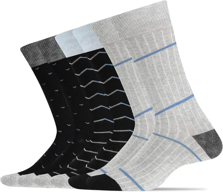 WANDER Men's Dress Socks Cotton Thin Classic lightweight Socks 6/8 Pairs Solid Soft Breathable Socks