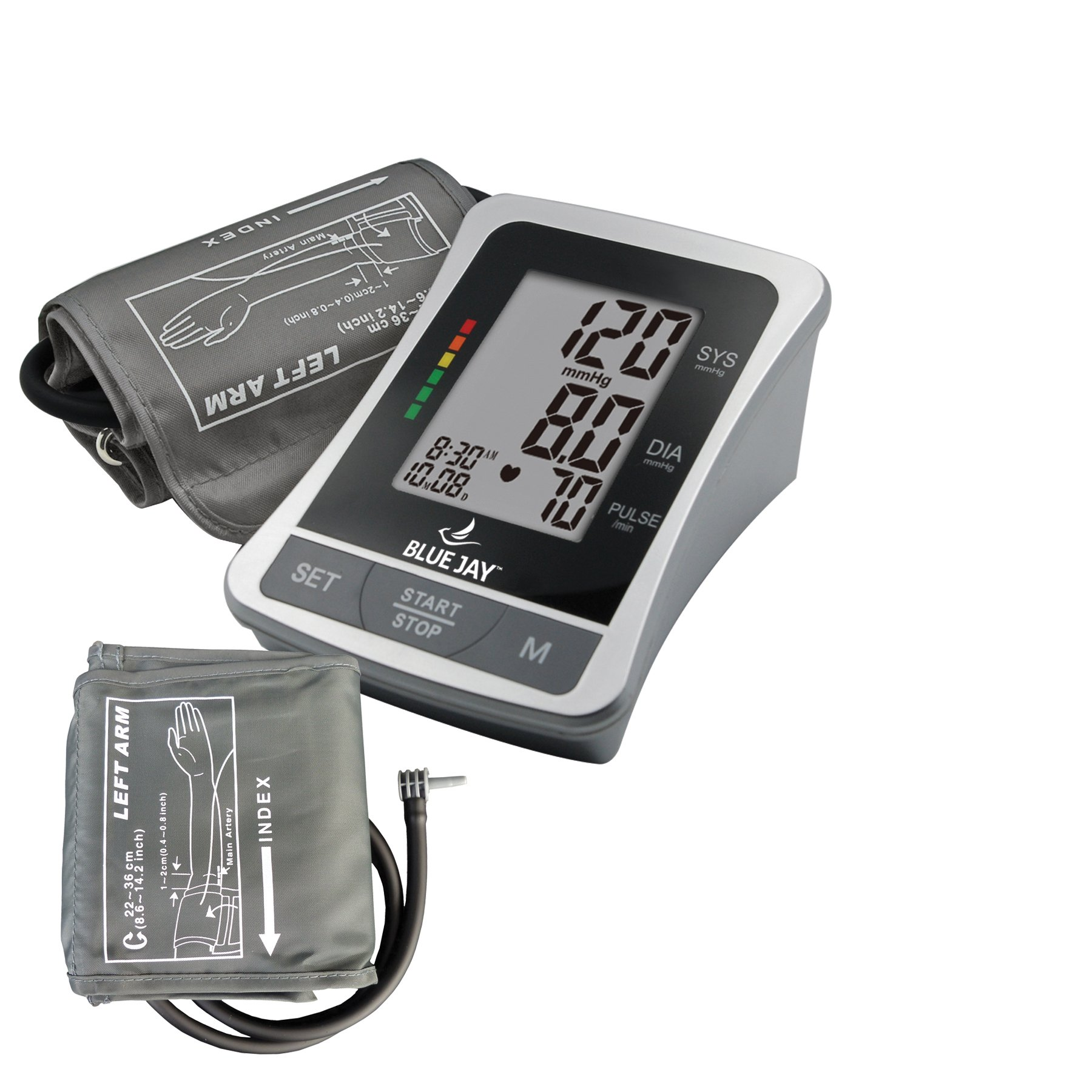 Blue Jay Perfect Measure Automatic Blood Pressure Monitor, One-Touch Function, LCD Display, 120 Memory Recall with Date and Time Stamp, 2 Adult Arm Cuff, Health Monitors