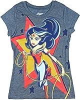 Wonder Woman in Star Girls' Licensed Short Sleeve Crew Neck Graphic T-Shirt