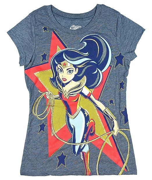 Wonder Woman in Star Girls' Licensed Short Sleeve Crew Neck Graphic T-Shirt (Medium)