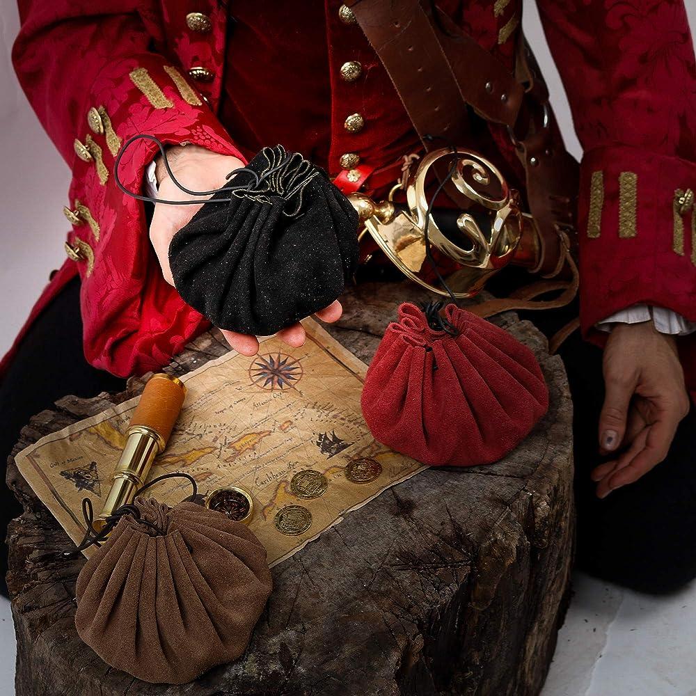 Mythrojan Medieval Leather Pouch Accessory Renaissance Bag Light Black