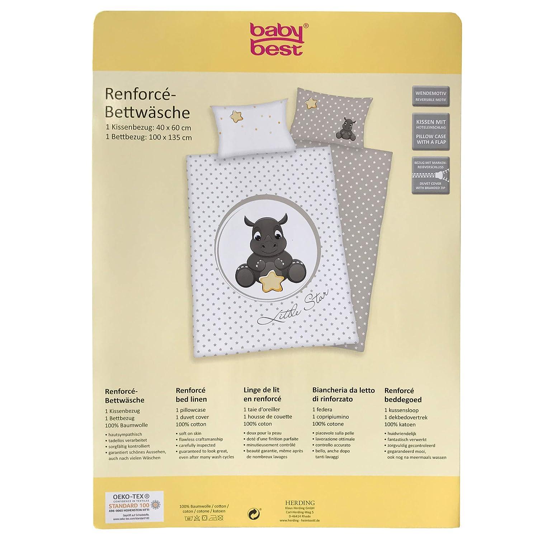 Herding 2485210063 Juego de Cama de Jana Rinoceronte, algodón, Blanco, 135 x 100 cm: Amazon.es: Hogar