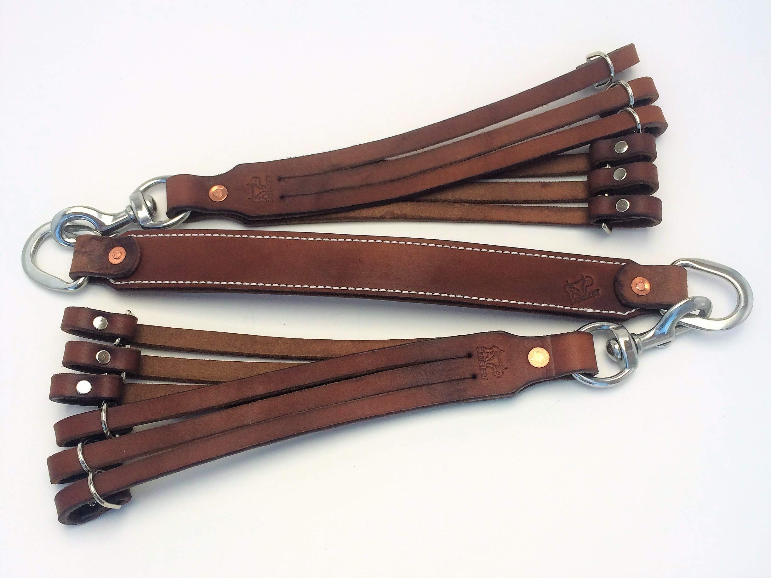 AP Saddlery 3pc Snaps Low Profile Leather Duck Holder (Dark Brown)