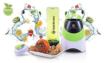Nutrilovers - Mini Batidora de vaso, smoothie maker para milkshakes batidos y sopas, con cuchilla de acero, botella y tapa sin BPA, Color Verde: Amazon.es: ...