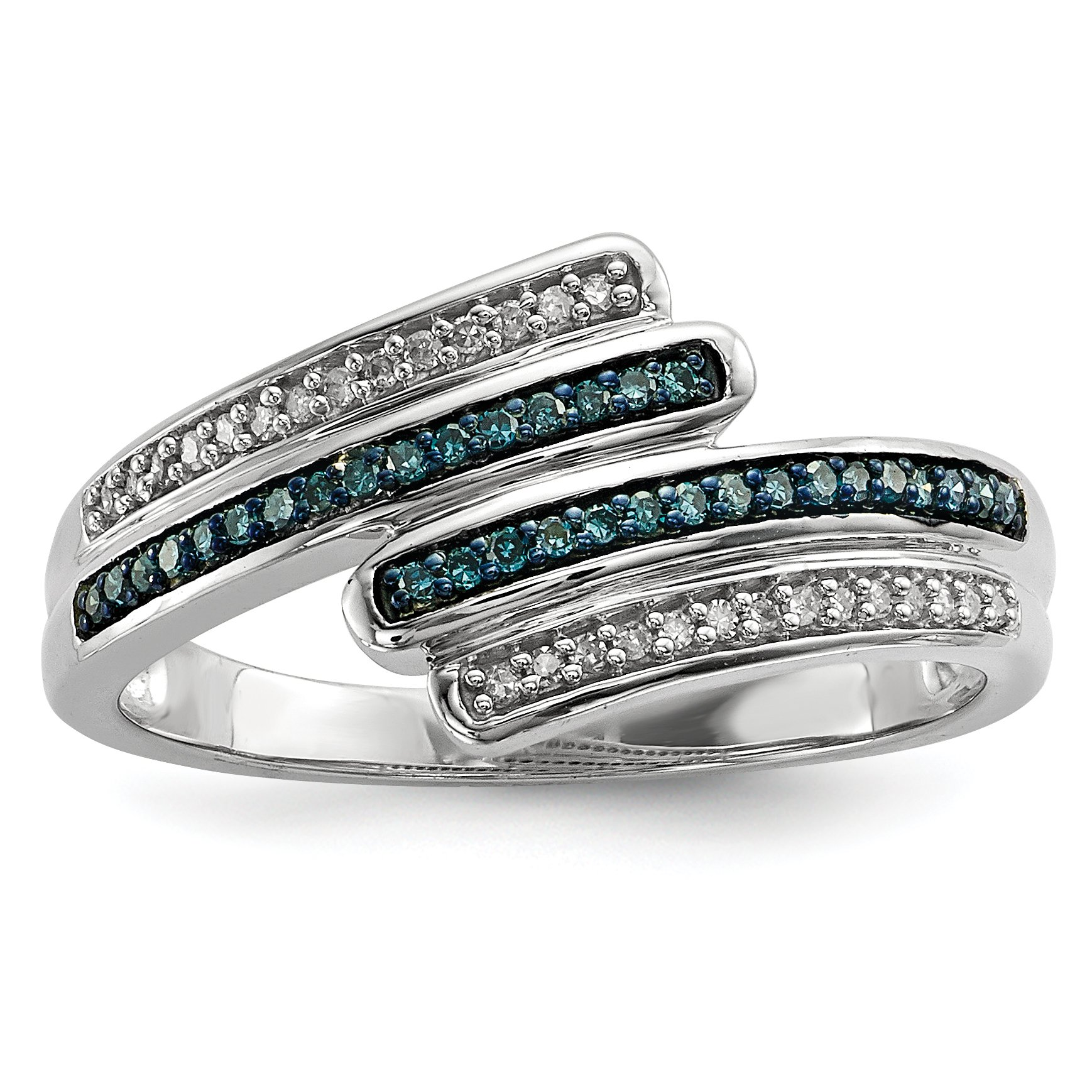 ICE CARATS 925 Sterling Silver Blue White Diamond Band Ring Size 8.00 Fine Jewelry Gift Set For Women Heart