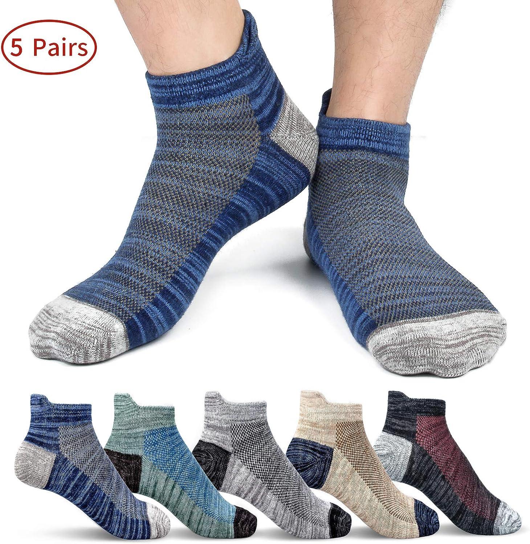 Mens Ankle Socks Cotton Athletic Sock Moisture Wicking Sports Socks Non-Slip Breathable Running Socks for Men (5 Pairs)