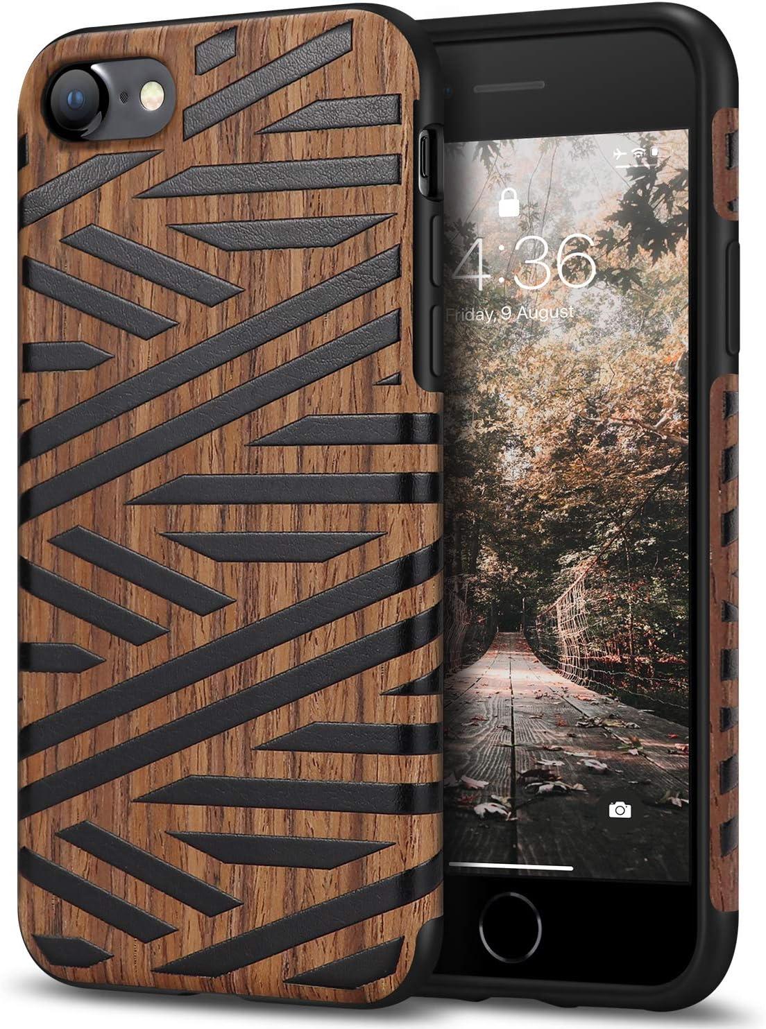 Tasikar Compatible with iPhone SE 2020 Case/iPhone 7 Case/iPhone 8 Case Easy Grip with Wood Grain Design Slim Hybrid Case (Leather & Wood)