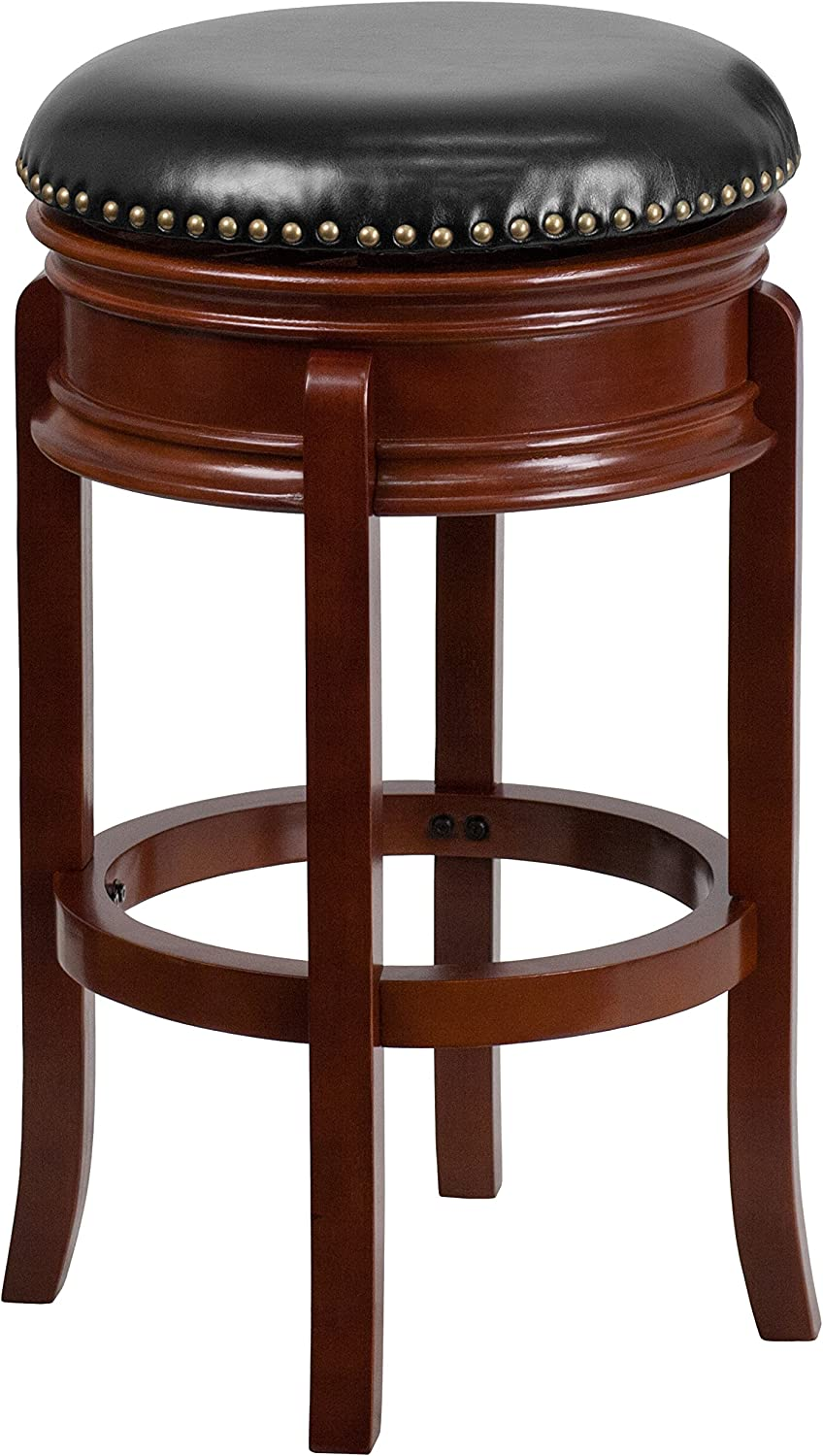 Flash Furniture 29'' High Backless Light Cherry Wood Barstool with Carved Apron and Black Leather Swivel Seat