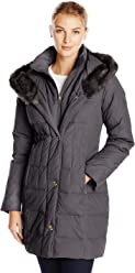 Larry Levine Womens Down-Filled Coat with Faux Fur-Trimmed Hood