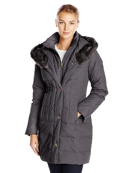 Larry Levine Women's Down-Filled Coat with Faux Fur-Trimmed Hood at Amazon Women's  Coats Shop