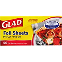 Glad Food Prep & Storage BB11212   Pre Pop Up Aluminum Foil Sheets for Baking, Grilling, and Food Prep, 50 Count,   No…