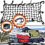 """22""""x38"""" Super Duty Bungee Cargo Net Stretches to 44""""x76""""   Small 2""""x2"""" Mesh Holds Small and Large Loads Tighter   12 Adjustable Hooks   for Rooftop Cargo Carrier, ATV, UTV, Cargo Hitch"""