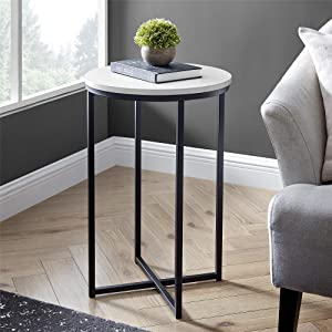 Walker Edison Rosalie Contemporary Round Side Table, 16 Inch, Marble/Black