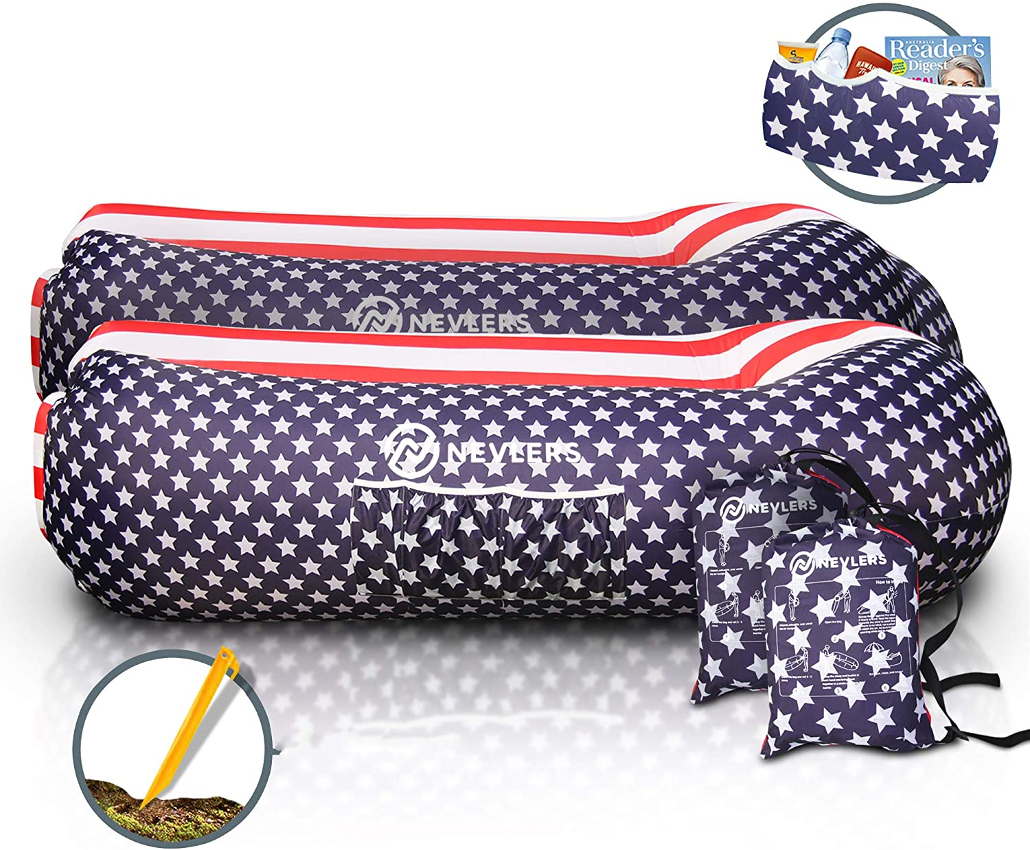 Nevlers 2 Pack Inflatable Loungers with Side Pockets & Matching Travel Bags - Portable and Waterproof - Great & Easy to Take to The Beach, Park, Pool, and as Camping Accessories