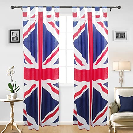 UNION JACK PATTERN Curtains Eyelet Window Curtain Bedroom Living Room Decor  Treatment Drape Single Panel UK