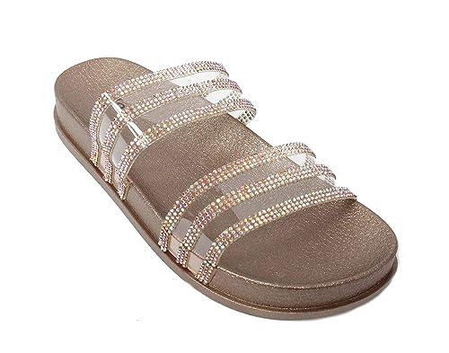 e32f2d719 H2K Women's Glitter Crystal Rhinestone Slip On Flatform Open Toe Buckle  Strap Slide Sandals (5