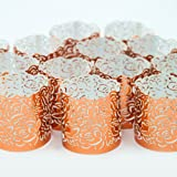 Frux Home and Yard Flameless Tea Light Votive Wraps- 48 Copper Colored Laser Cut Decorative Wraps For Flickering LED Battery Candles
