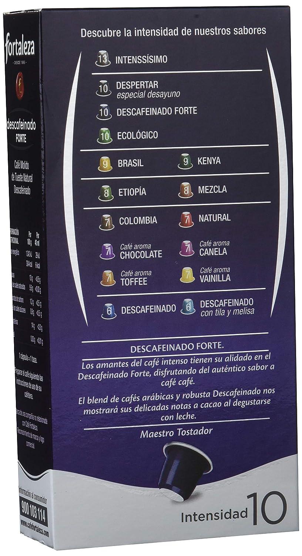 Café FORTALEZA - Cápsulas de Café Descafeinado Forte Compatibles con Nespresso - Pack 5 x 10 - Total 50 cápsulas: Amazon.es: Alimentación y bebidas