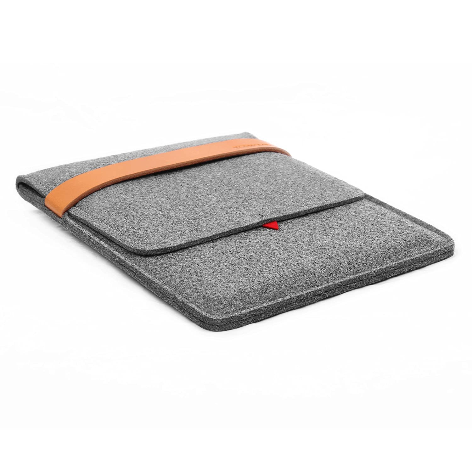 TOPHOME Ipad Sleeve Protector Bag Carrying Case Cover Wool Felt Sleeve Genuine Leather Lock for Apple iPad Mini//iPad mini 2// iPad Mini 3// iPad Mini 4 Grey