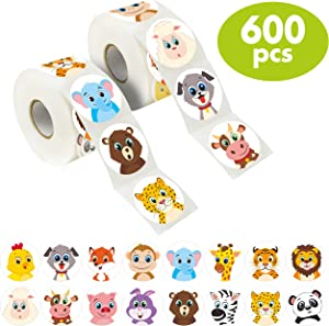 "600 Adorable Round Land Animal Stickers in 16 Designs with Perforated Line Expanded Version (Each Measures 1.5"" in Diameter)"