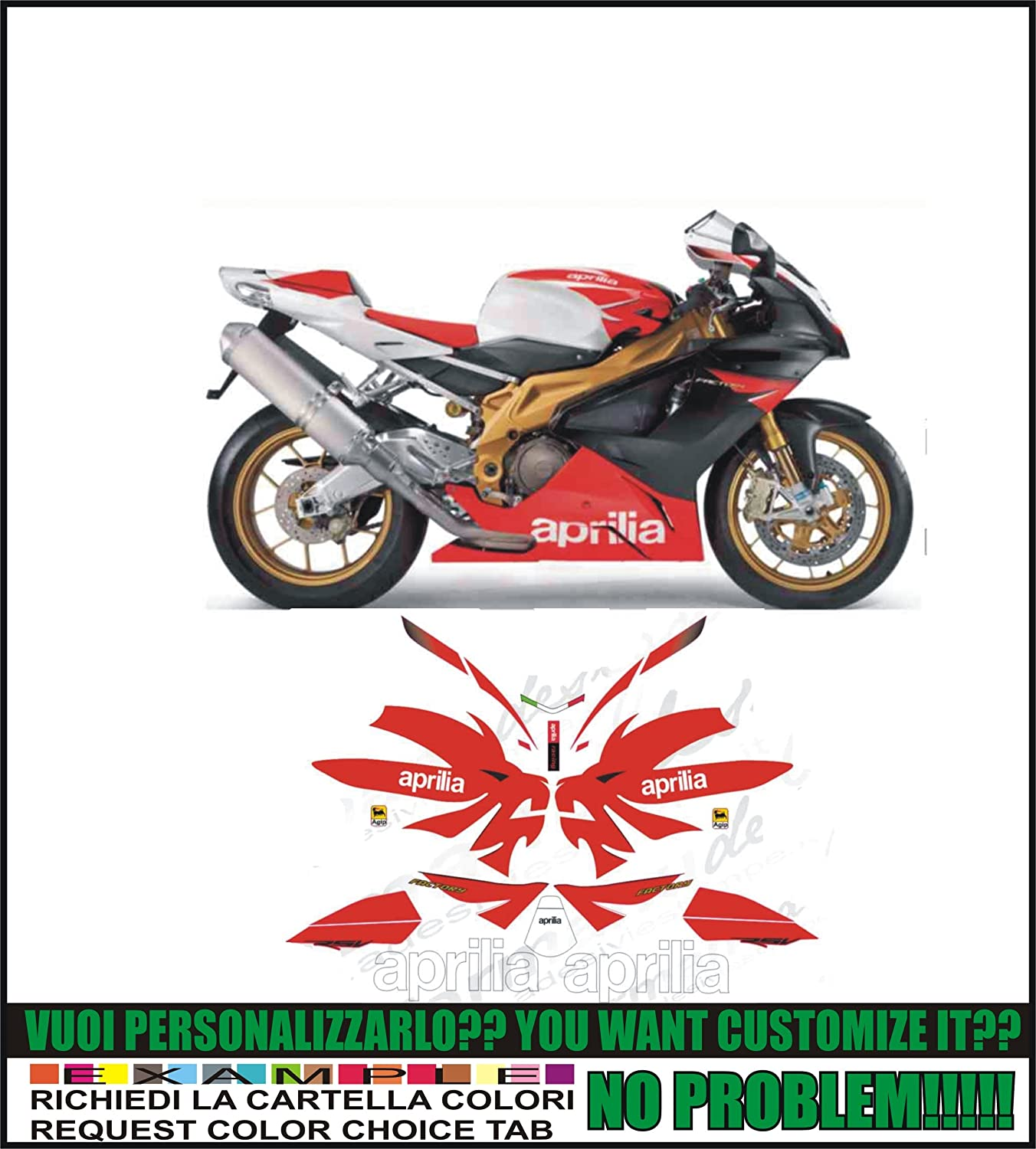ability to customize the colors Kit adesivi decal stickers APRILIA RSV 1000 R FACTORY 2006