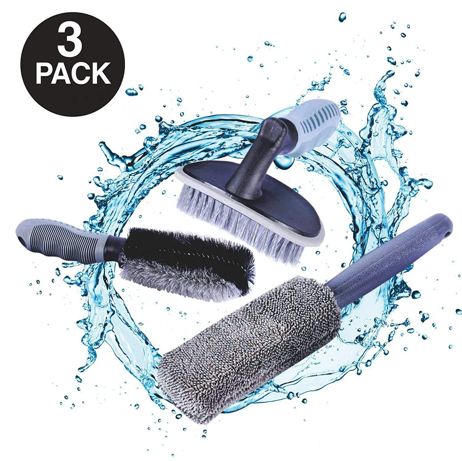 AutoEC Car Wheel Cleaning Brush Kit 2 Tire Rim Scrub Brush Soft Alloy Brush Cleaner 1 Premium Metal Free Wheel Rim Brush Use for Auto Motorcycle Bike Wheel Cleaning
