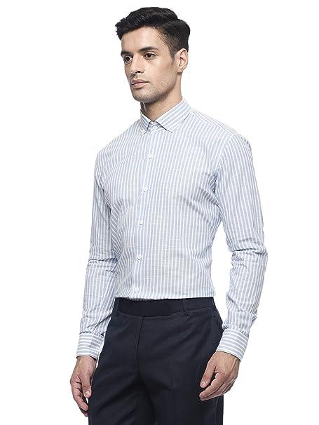 3704e879881 MODA HOMBRE Menswear Blue and White Striped Shirt with Semi Cutaway Button  Down Collar