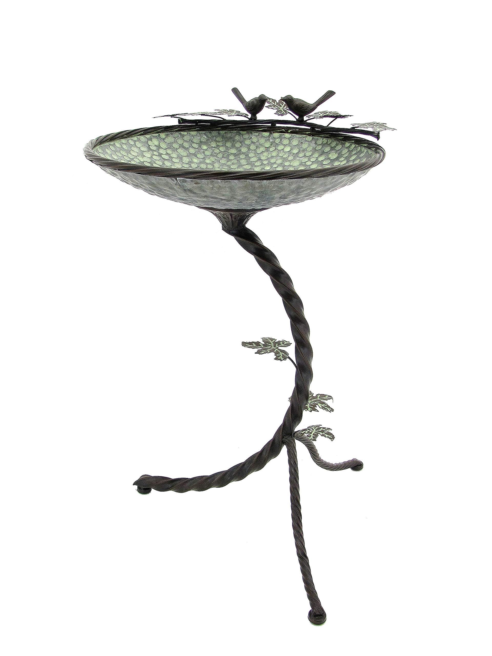 Zaer Ltd. Round Galvanized Birdbath with Branch Stand and Bird Details