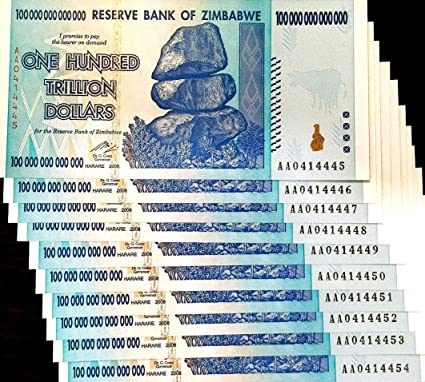 authentic currency 1 x Zimbabwe 100 Trillion dollar banknote-2008//AA