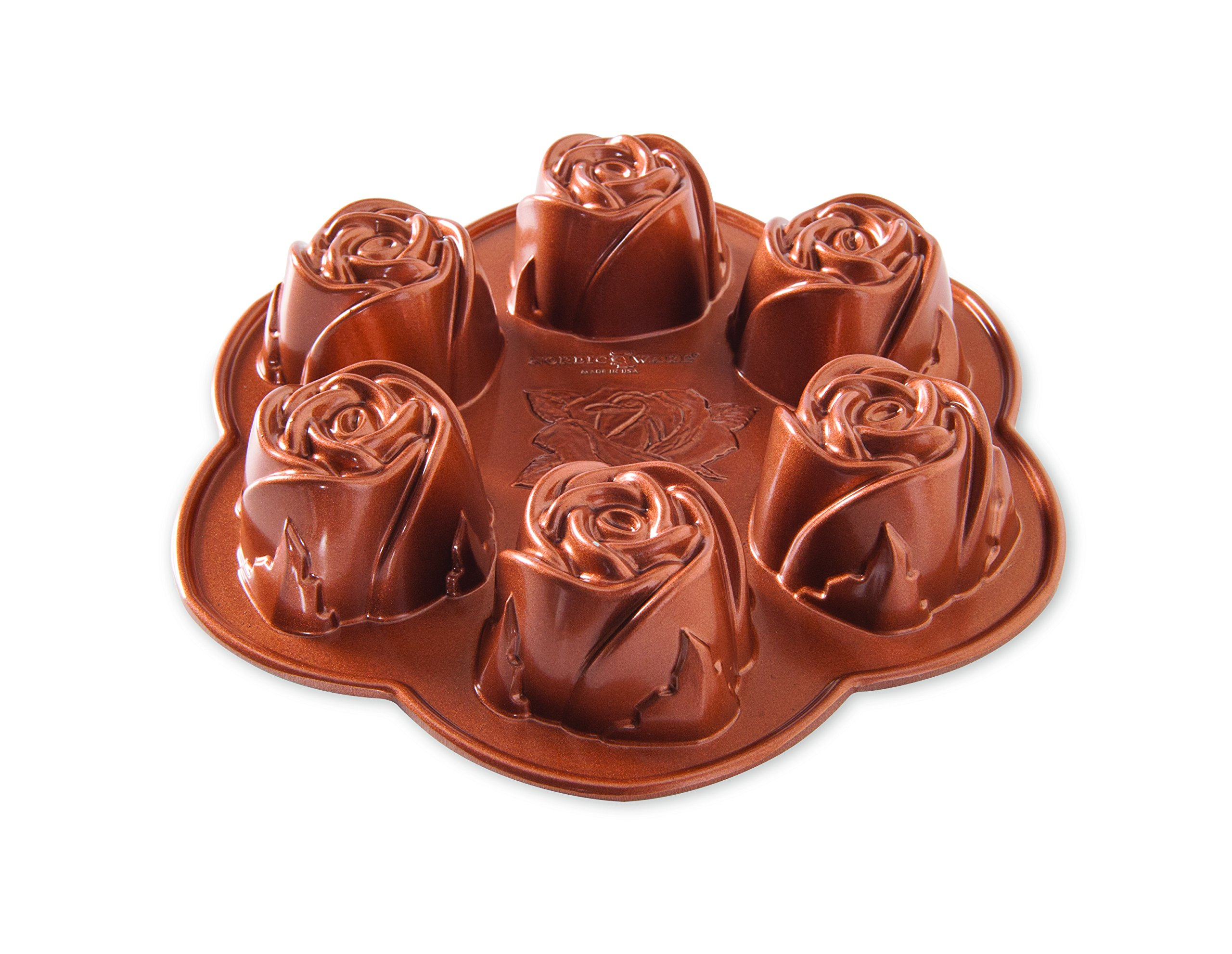 Nordic Ware 85147AMZ Rose Bud Pan, 6 Cakelets, Copper