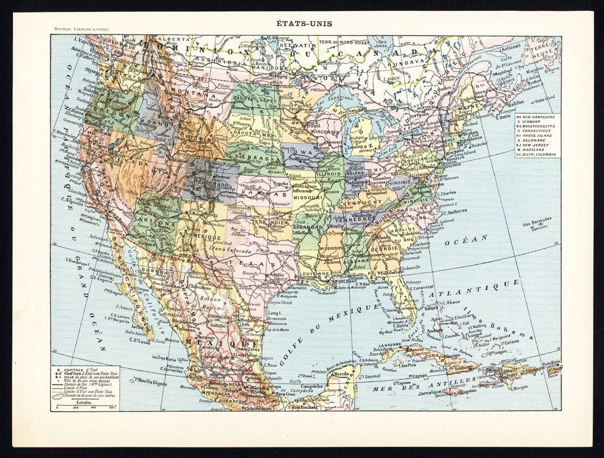 Amazon.com: Antique Maps-UNITED STATES-EAST-WEST COAST ...
