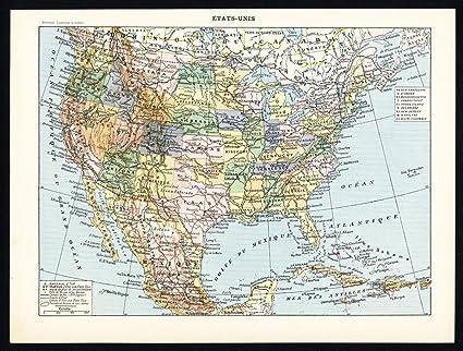 Amazon.com: Antique Maps-UNITED STATES-EAST-WEST COAST-Larousse-1897 ...
