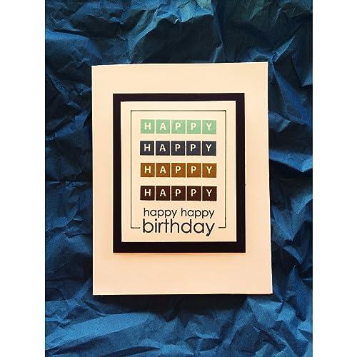 amazon com hand stamped masculine happy birthday card handmade