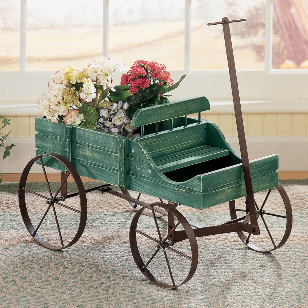 Amish Wagon Decorative Indoor / Outdoor Garden Backyard Planter, Green
