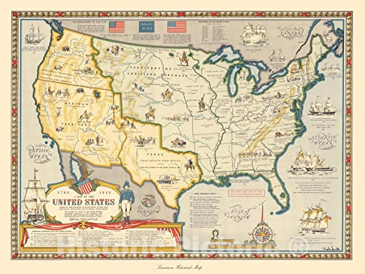 US Map Boundaries after Louisiana Purchase /& Florida Acquisition 1784-1844 Print