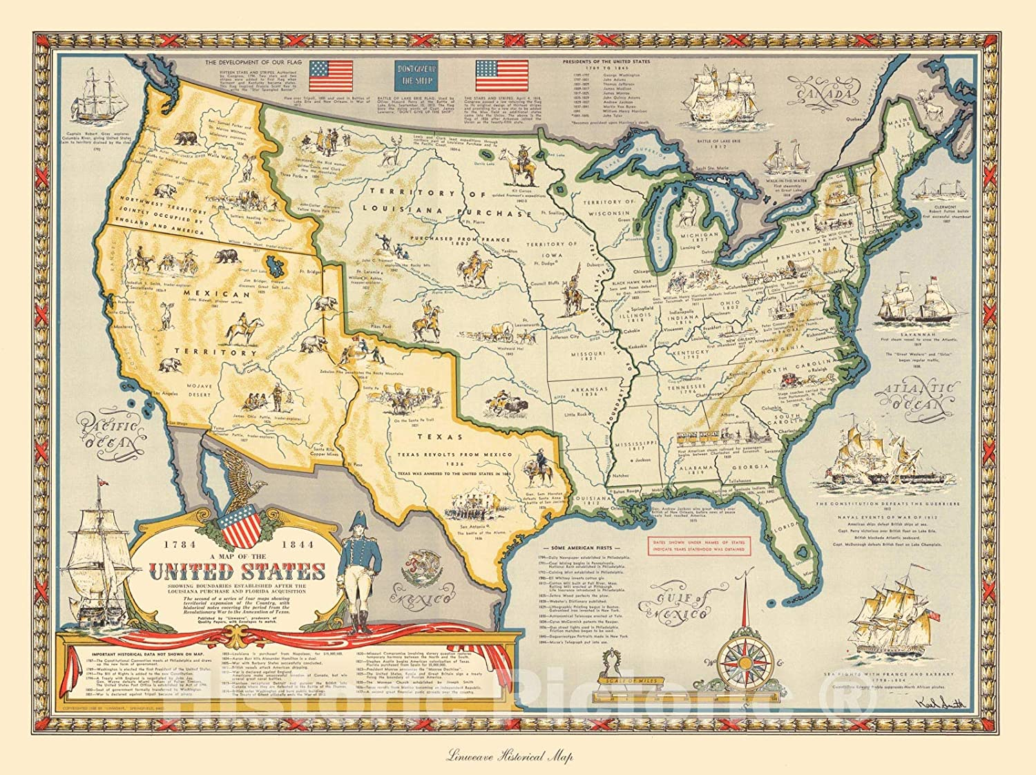 A Map of the United States Showing Boundaries Established after the  Louisiana Purchase and Florida Acquisition.1784-1844. Published, 1958 -  Vintage ...