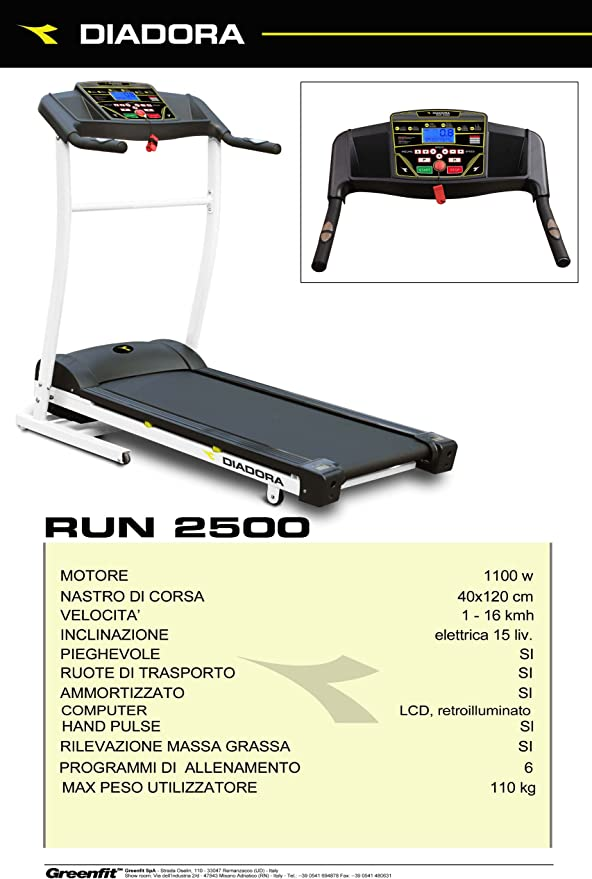 Cinta de correr motorizada Diadora Run 2500: Amazon.es: Deportes y ...