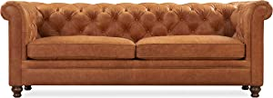 Poly and BARK Lyon Sofa in Full-Grain Pure-Aniline Italian Tanned Leather in Cognac Tan