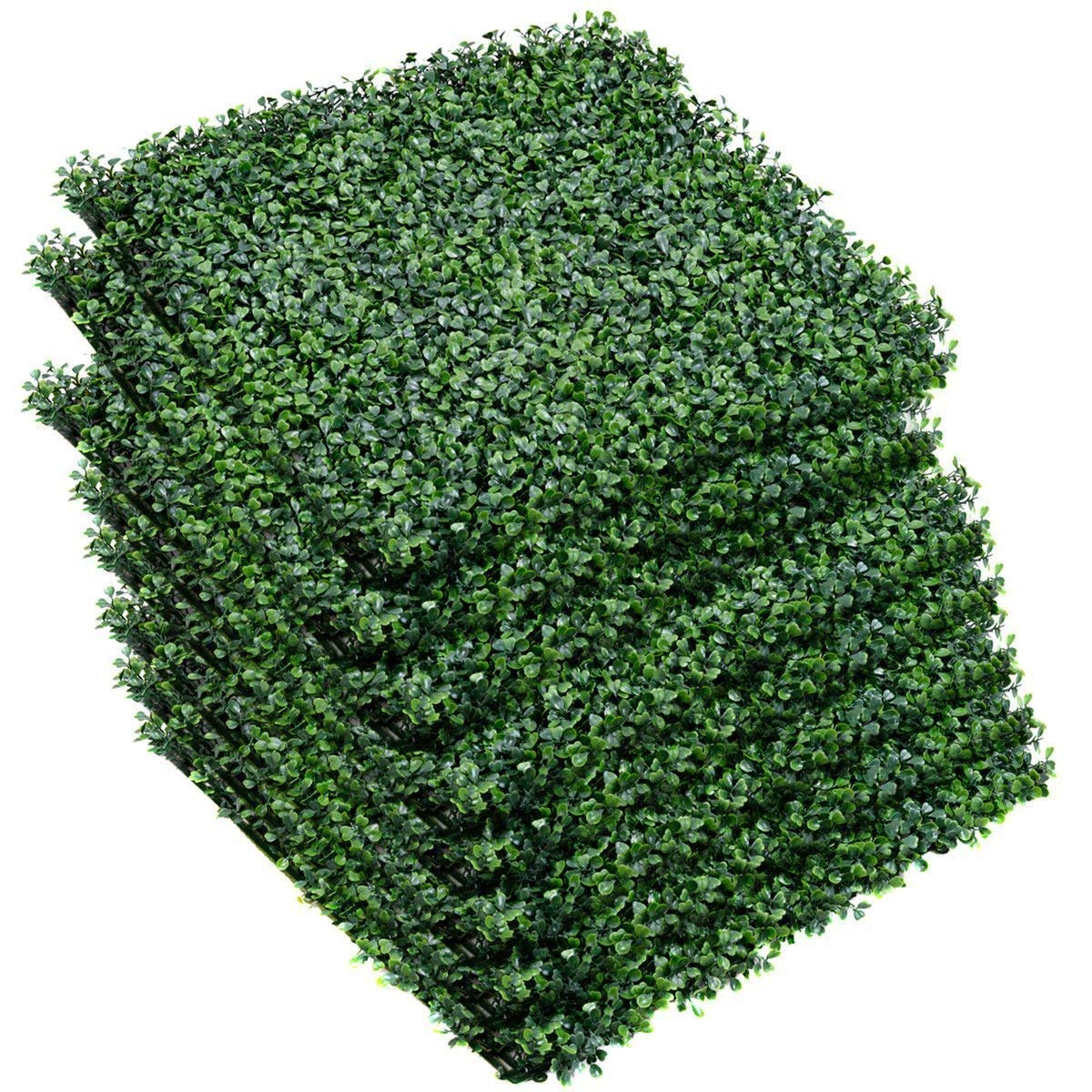 Giantex Artificial Privacy Fence Screen Boxwood Milan Leaf Grass Hedge Panels Mat Indoor Outdoor Topiary Decorative Fake Plant Wall 20''x20'' (12 Pcs) Boxwood Panels