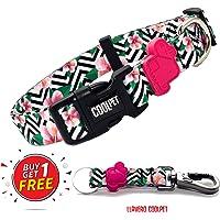 Coolpet Kit Collar para Perro + Llavero, Collares Ajustables para Mascotas para tamaños Chicos medianos y Grandes, Varios diseños, Suaves al Tacto y cómodos (2 PCS). (Chevron, Chico)