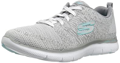 Skechers Damen Flex Appeal 2.0-High Energy Sneaker, Weiß (White/Grey), 35 EU