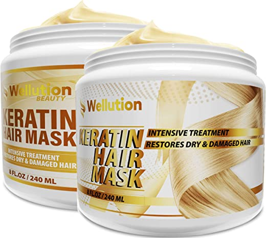 (2 Pack Bundle) Keratin / Biotin Collagen Hair Mask Intensive Restoration Treatment for Dry or Damaged Hair – Advanced Keratin Formulation Provides Hair with Vital Nutrients to Hydrate & Nourish