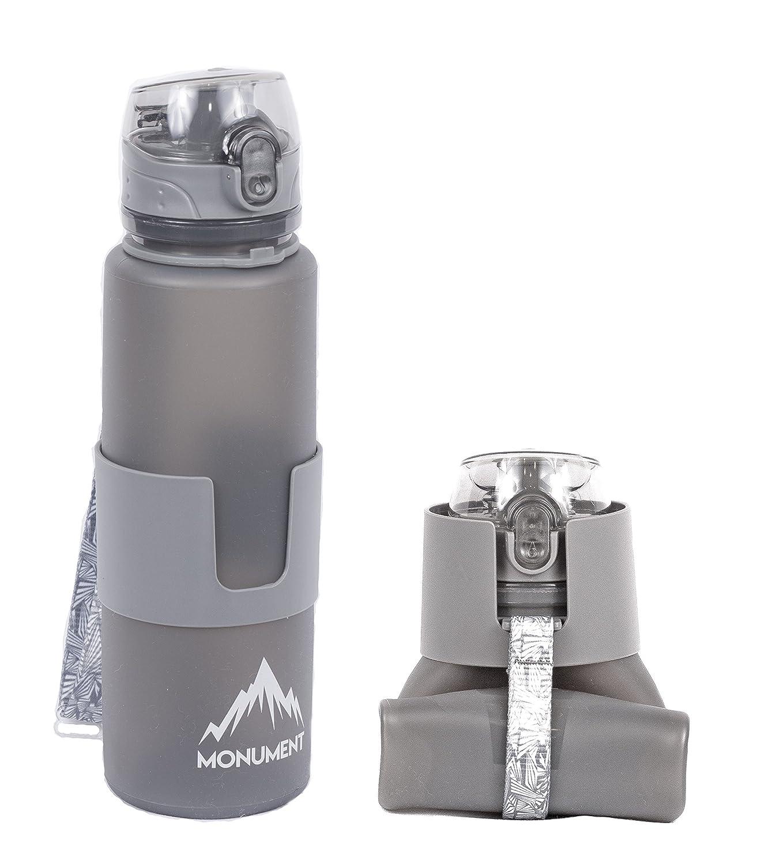 Monument 折りたたみ可能な水筒 - ワンタッチキャップ - 断熱 BPA不使用 シリコーン製 22オンス お出かけに最適 ハイキング キャンプ 旅行 オートバイ サイクリング ヨガ 登山 スノーボード スキー サーフィン B071KDWQ58 グレー
