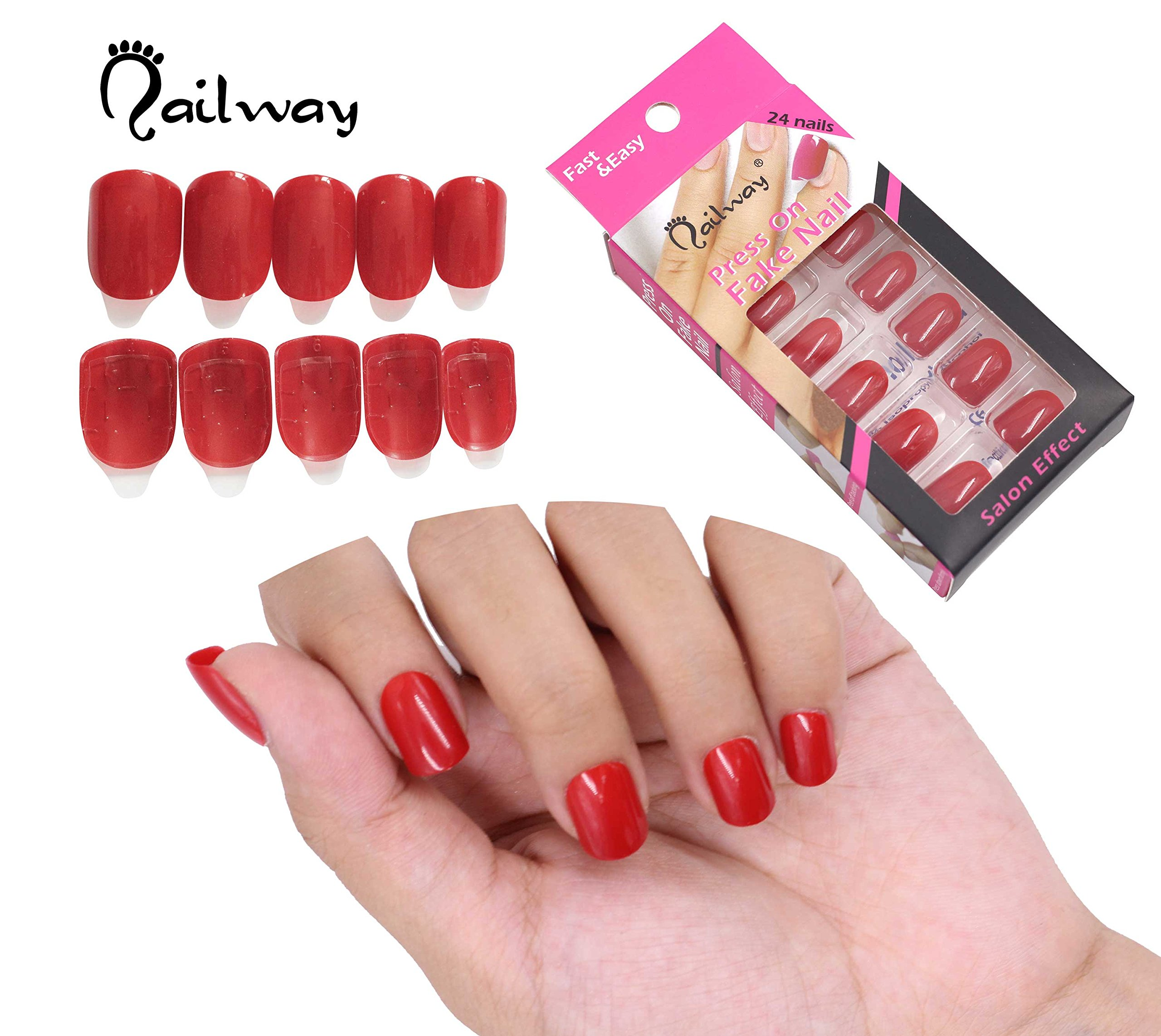 Amazon.com: NAILWAY Press On Fake Nails Self Adhesive Fake nail Pre-glue Nail Art with Adhesive Tab False Nails Tips Artificial Nails Manicure Set Fast ...