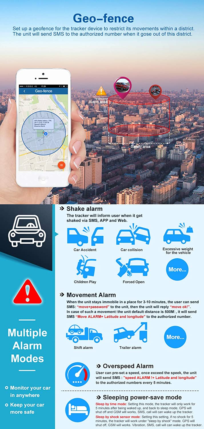 Locator GPS with Powerful Magnet,Realtime Vehicle GPS Tracker,5000 mAh Battery for up to 90 days Vibration Alarm Speed Limit and Geo-Fence,Free App for IOS and Android Rain Resistant TKSTAR GPS Tracker