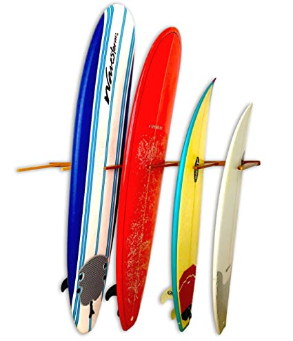 Vertical Timber Surfboard Wall Rack   Holds 6 Surfboards   Cherry Wood Home  U0026 Garage Storage