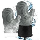 Ugnshandskar värmebeständiga, silikon halkskyddade vattentäta ugnshandskar