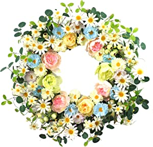 """24"""" Artificial Flower Wreath,Daisy and Rose Wreath Colorful Spring/Summer Floral Wreath for Front Door Wall Window and Holiday Festival Party Bouquet Wedding Decor"""