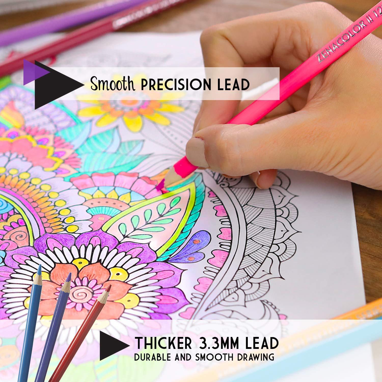Mandala Zenacolor Malbuch ⭐160 Buntstifte Nummeriert Ideal f/ür Ausmalbilder Erwachsene Schreibger/äte und Schule Einfache Aufbewahrung Professionelles Stifte-Set f/ür Erwachsene und Kinder